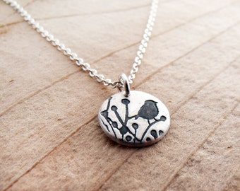 Tiny little bird necklace, silver bird jewelry, bird pendant, songbird, sparrow, gift for her, gift for wife, girlfriend gift, coworker