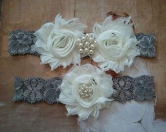 Wedding Garter, Bridal Garter, Garter - Ivory Flowers on a Stretch Grey Lace with Pearls & Rhinestones - Style G20094