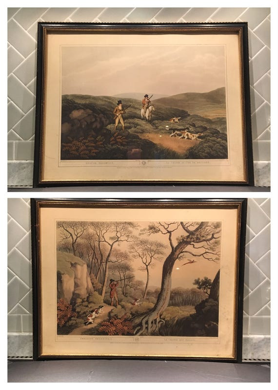 SALE! Rare Edward Orme Hunting Scene / Equestrian Engravings Circa 1807 No. 11 + No. 15 - La Chasse Aux Faisans + La Chasse Au Cog De Bruyer