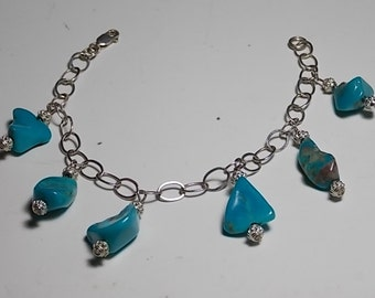 Vintage Sterling Silver Bracelet With Faux Turqoise Beads