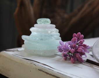 "Mini 2"" Seaglass  Cairn / Sculpture , Beach Decoration , Sea Glass Art Aqua and White , Surf Tumbled"