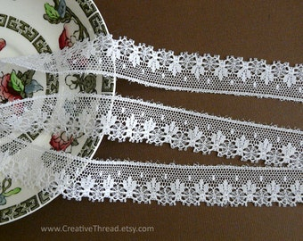 """6 3/8 Yards, English Vintage Heirloom Lace, Delicate Cotton Lace Edge, Doll Lace, Bridal, Lingerie Lace, 3/4"""" Wide - White - N108"""