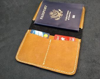 Hand stitched Horween Lizard print Leather Passport wallet, Travel wallet, passport cover, passport holder, gift for traveler, bespoke