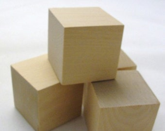 """2 inch wooden cube, 2"""" unfinished wooden block, unfinished wood cube, Choose your quantity"""
