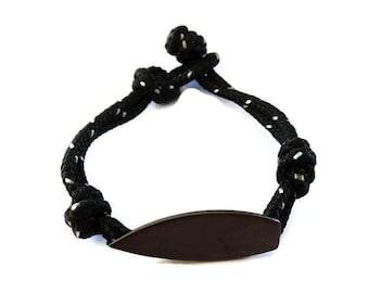 Surfer Bracelet, Silver Surfboard Bracelet, Surfer Cord Bracelet, Mens Bracelet, Surfer Jewelry, Beach Bracelet, Cord Bracelet