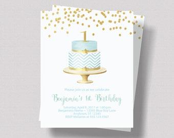 BOYS FIRST BIRTHDAY Invitation Blue and Gold Glitter   Mint Blue 1st Birthday Invitation for Boy   Baby Blue Shabby Chic Invitation Any Age