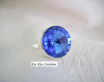 Adjustable ring, sapphire blue, plated silver, cabochon swarovski crystal round rivoli, adjustable open ring, Bohemian jewelry timeless fashion