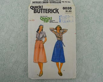 Butterick Sewing Pattern 6035 shirt and skirt from the 1970s size 10