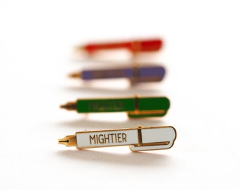 Mightier Pen Pin Badge, Pin, Enamel Pin, Pin Badge, Pins, Lapel Pin, Peace, Brooch, Enamel Brooch, Teacher Gift, Stationery Lover,