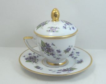 Coffee cup with cover porcelain Florentine Italian decor month April