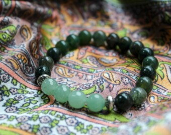 Always Healing~ moss agate and aventurine stacking bracelet