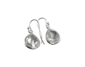Clear Crystal Sterling Silver Teardrop Bezel Earrings