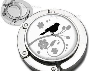 Black Gray and White Bird on a Branch Purse Hook Bag Hanger Lipstick Compact Mirror