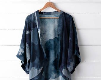 Printed Silk Kimono Top - Midnight Ink