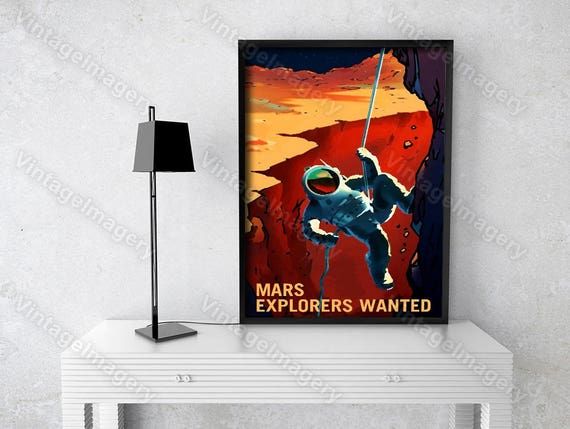 Explorers Wanted 2016 NASA/JPL Recruitment Poster Space Travel Space Art Great Gift idea for Kids Room, Office, man cave Wall Art Home Decor