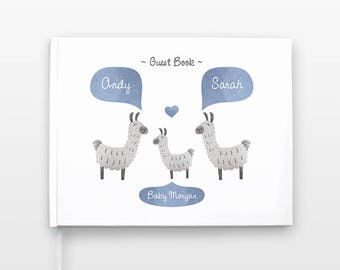 LLAMA ALPACA Baby Shower Guest Book, Personalized Baby Book, Animal Baby Guestbook, New Baby Gift, Baby Journal, Baby Notebook