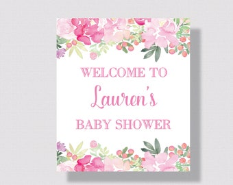 BRIDAL SHOWER WELCOME Sign Baby Shower Welcome Sign   Pink Watercolor Floral Wedding Sign   Printable Welcome Wedding Sign   Peoni Pink