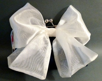 Bridesmaid Clutch Organza Bow on Silk Clutch Customize