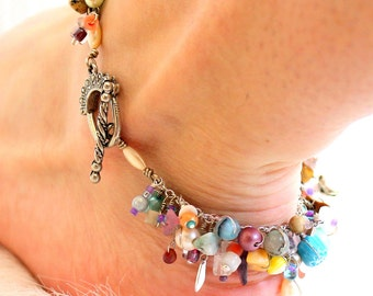 fringe anklet. pastel summer paradise. wire wrapped beaded charm anklet