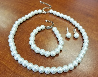 Pearl Set, Pearl Necklace, Pearl Bracelet, Pearl Earrings,Glass Pearl,Bridesmaid Gifts,Jewelry Wedding Set,Gift For Her Free Shipping In USA
