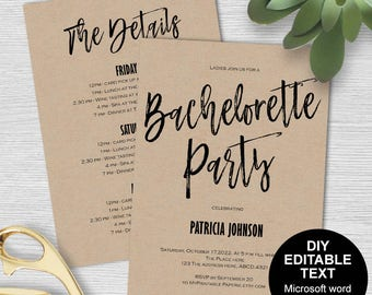 Bachelorette party invitation template, Bachelorette party invites, Bachelorette invitation,Bachelorette itinerary, DIY, printable,modern