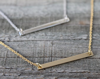 Bar Necklace, Skinny Gold Bar Necklace, Dainty Bar Necklace, Gold Filled Bar Necklace, Sterling Silver Bar Necklace