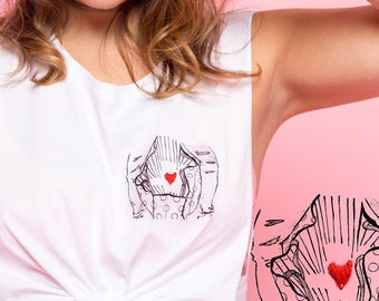 BAG MY HEART Illustration + Barnard Tee, unisex soft cotton raw edge sleevless tank