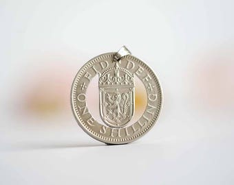 UK Cut Coin Necklace. One Shilling, 1954-1970. Elizabeth II