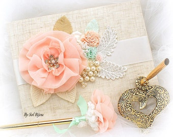 Coral Mint Gold Wedding Guest Book, Guestbook Signature Book and Wedding Pen, Elegant Shabby Chic Style