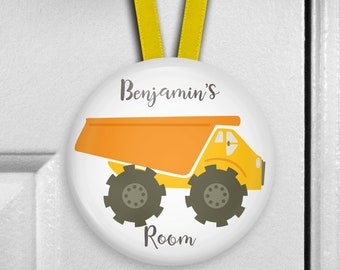 Yellow dump truck door sign for kids room decor - construction truck birthday gift for son - personalized name plaque - HAN-PERS-14