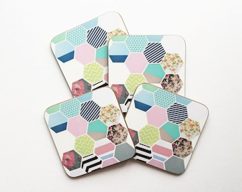 Set of Four Geometric Pattern Coasters With Rounded Corners - Florals and Stripes