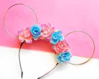 Sleeping Beauty Themed Flower Crown and Gold Wire Mouse Ears