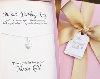 Flower Girl gift, flower girl necklace, bridal party gift,thank you gift, Wedding, jewelry, necklace, Bridesmaids, flower girl,  HeartFG3