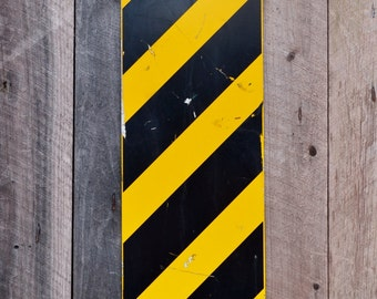 Vintage Bridge Hazard Metal Road Sign Striped Yellow Black Warning Caution Industrial Garage Man Boy's Room Decoration