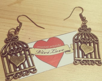 Vintage Old style heart Freedom swallow earrings