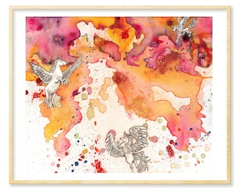 Unicorn Wall Art, Horse Watercolor, Her Abstract Gift Art, Unicorn Nursery, Pegacorn, Abstract Print, Radiant Orchid Art, 11 x 14, Pink