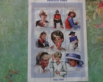 """PRINCESS DIANA: """"Private Moments"""" Plate Block of 9, Commemorative Sheet, Togo (Mint Cond.) Stamps"""