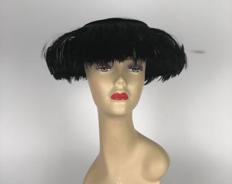 Stunning 1950s Black velvet and feather hat