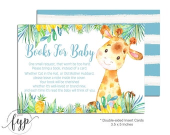 Book Request Card - Bring A Book Insert - Baby Shower Insert - Safari Baby Shower - Giraffe Baby Shower - Book Instead Of Card - Baby Boy