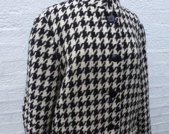 Coat Jaeger wool overcoat ladies vintage coat winter wool car coat 80s black houndstooth coat pure wool womans large coat long eco wool coat