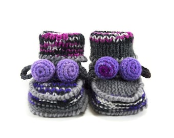 Knitted Baby Booties, Wool Baby Booties, Gray with Lilac, 3 - 6 months