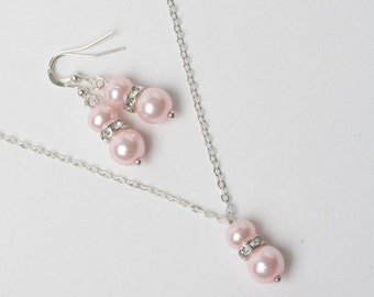 Pink Bridesmaid Jewelry Set, pink pearl earrings and necklace, pink wedding jewelry, pearl jewelry set, bridesmaid gift, Sterling silver