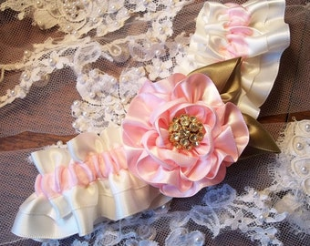 Pink and Ivory Wedding Garter with a Light Pink Rose on Ivory, Bridal Garter Pink Flower with rhinestone Center