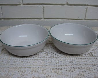 2 White with Green Stripe Ironstone Bowls by Gibson