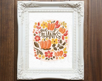 Wall Art Printable, Instant Download File, Give Thanks, 8x10 home decor print