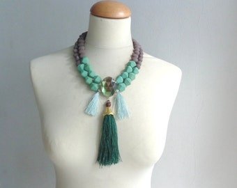 Green necklace, tassel chunky necklace modern tribal statement