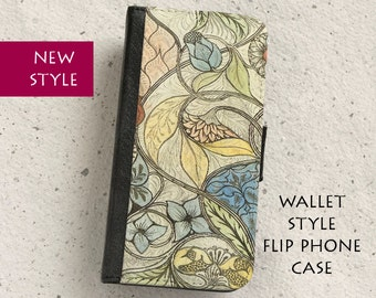 iPhone Case (all models) - wallet style flip case - William - Morris - illustration -  Samsung Galaxy S4,S5,S6,S7Edge,S8,S8Plus & more