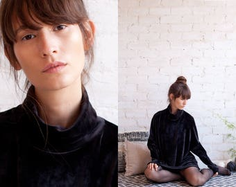 black velvet oversized shirt