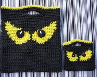 Spooky Eyes Halloween Bags Crochet PATTERN - INSTANT DOWNLOAD