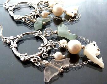 3 Dolphins Sea earrings in sterling silver with pink rose quartz green aventurine mop pearls victorian boho bohemian gypsy OOAK jewelry